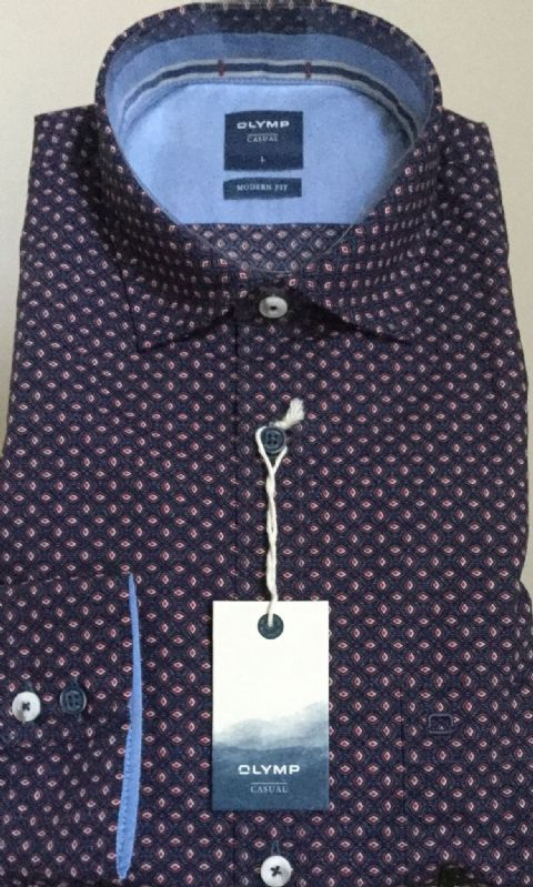 Red & Navy Cotton Shirt - Olymp- 4008/34/35